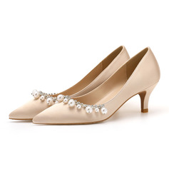 Women's Stiletto Heel Closed Toe Pumps Sandals With Pearl