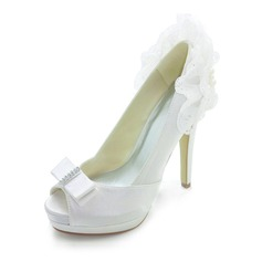 Women's Satin Stiletto Heel Peep Toe Platform Pumps Sandals With Bowknot Imitation Pearl Ruffles