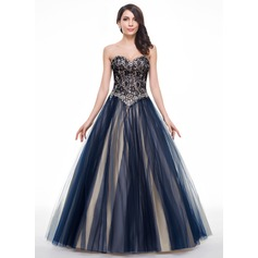 Ball-Gown/Princess Sweetheart Floor-Length Tulle Lace Prom Dresses With Beading Sequins (018056781)