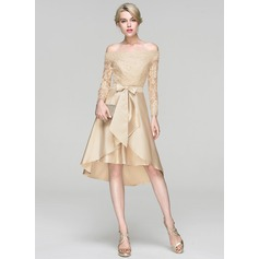 A-Line Off-the-Shoulder Asymmetrical Satin Cocktail Dress With Sequins Bow(s)