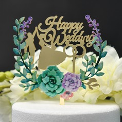 Dancing Couple/Mr. & Mrs./Flower Acrylic Cake Topper (Sold in a single piece)