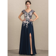 A-Line V-neck Floor-Length Chiffon Lace Mother of the Bride Dress With Split Front
