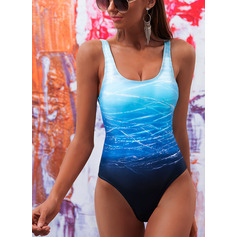 Beautiful Colorful Print Polyester Spandex One-piece (202228056)