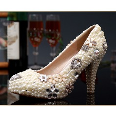 Women's Real Leather Stiletto Heel Closed Toe Pumps With Imitation Pearl