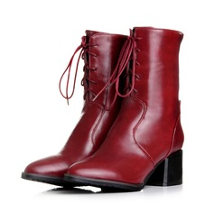 Women's Leatherette Chunky Heel Pumps Wedges Mid-Calf Boots With Lace-up shoes (088109583)
