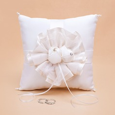 Elegant Ivory Ring Pillow in Satin With Feather
