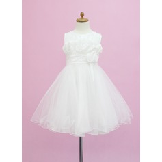 A-Line/Princess Tea-length Flower Girl Dress - Tulle Sleeveless Scoop Neck With Beading/Flower(s)