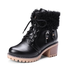 Women's PU Chunky Heel Pumps Platform Boots Ankle Boots With Lace-up Fur shoes