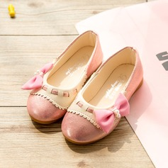 Girl's Closed Toe Leatherette Flat Heel Flats Flower Girl Shoes With Bowknot Imitation Pearl
