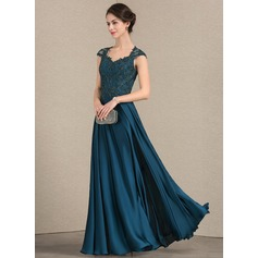 A-Line/Princess Sweetheart Floor-Length Lace Satin Chiffon Mother of the Bride Dress