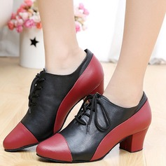 Women's Real Leather Flats Sneakers Swing Dance Shoes
