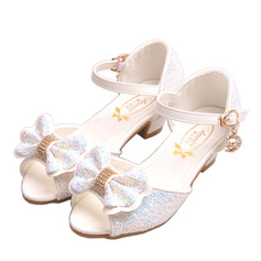 Girl's Peep Toe Leatherette Low Heel Sandals Flower Girl Shoes With Bowknot