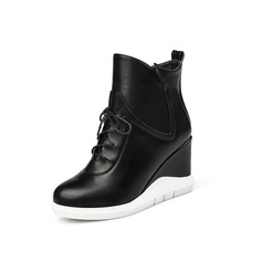 Women's Leatherette Wedge Heel Ankle Boots With Braided Strap shoes