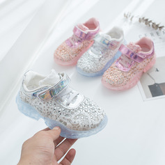 Jentas Round Toe Lukket Tå Leather flat Heel Flate sko Sneakers & Athletic Flower Girl Shoes med Velcro Blondér Crystal