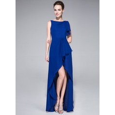 A-Line/Princess Scoop Neck Asymmetrical Chiffon Evening Dress With Beading Sequins Cascading Ruffles