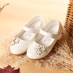 Girl's Closed Toe Patent Leather Flat Heel Flats Flower Girl Shoes With Velcro Flower