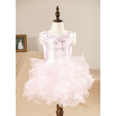 A-Line/Princess Knee-length Flower Girl Dress - Organza Sleeveless Scoop Neck With Ruffles/Beading