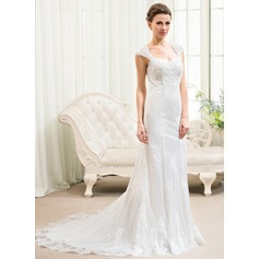 Trumpet/Mermaid Sweetheart Court Train Tulle Lace Wedding Dress With Beading Appliques Lace Sequins