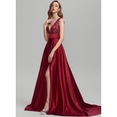 A-Line V-neck Sweep Train Satin Evening Dress With Sequins Split Front