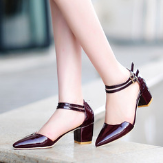 Women's Patent Leather Chunky Heel Closed Toe Pumps Sandals Mary Jane With Buckle