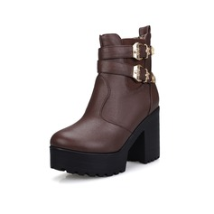 Leatherette Chunky Heel Platform Ankle Boots Riding Boots With Buckle shoes