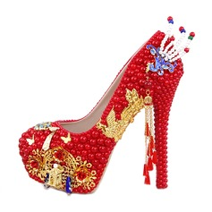 Women's Leatherette Stiletto Heel Closed Toe Pumps With Applique