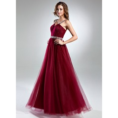 A-Line/Princess Scoop Neck Floor-Length Tulle Prom Dresses With Ruffle Beading