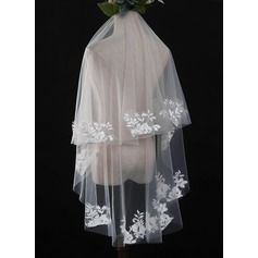 One-tier Cut Edge Waltz Bridal Veils With Lace