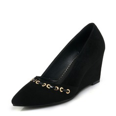 Women's Suede Wedge Heel Pumps Closed Toe Wedges With Rivet shoes