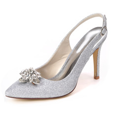 Women's Sparkling Glitter Stiletto Heel Sandals With Rhinestone
