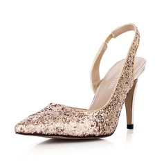 Women's Sparkling Glitter Stiletto Heel Closed Toe Pumps Slingbacks