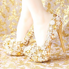 Women's Leatherette Stiletto Heel Platform Pumps With Rhinestone Sparkling Glitter Flower (047113714)