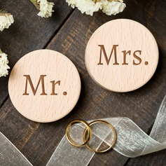 """Mr. & Mrs."" Wood Ring Box (Set of 2)"