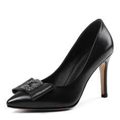 Women's Real Leather Stiletto Heel Pumps Closed Toe With Rhinestone Bowknot shoes
