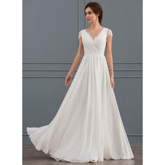 A-Line V-neck Floor-Length Chiffon Lace Wedding Dress With Ruffle (002127339)
