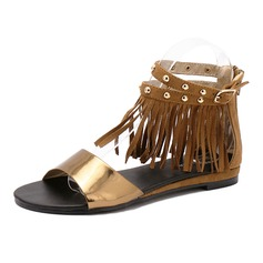 Women's Real Leather Leatherette Flat Heel Sandals Peep Toe With Tassel shoes