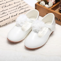 Girl's Round Toe Closed Toe Mary Jane Leatherette Flat Heel Flower Girl Shoes With Satin Flower Velcro