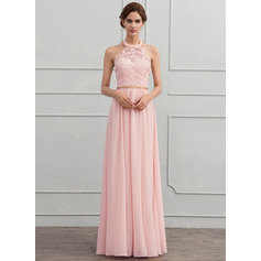 Halter Floor-Length Chiffon Evening Dress With Beading (271194375)