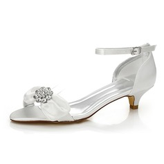 Womenu0027s Satin Low Heel Sandals Dyeable Shoes .