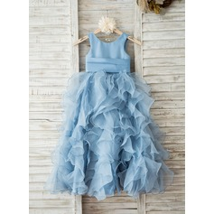 Ball Gown/Empire Floor-length Flower Girl Dress - Organza Sleeveless Scoop Neck With Flower(s)