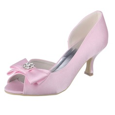 Women's Satin Spool Heel Peep Toe Pumps With Bowknot Rhinestone