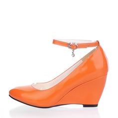 Women's Patent Leather Wedge Heel Closed Toe Wedges With Rhinestone shoes