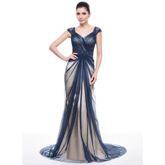 Trumpet/Mermaid Sweetheart Sweep Train Tulle Evening Dress With Ruffle Beading Appliques Lace Sequins