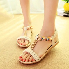 Women's Leatherette Wedge Heel Sandals Peep Toe Slingbacks With Rhinestone Satin Flower Chain Braided Strap Split Joint shoes