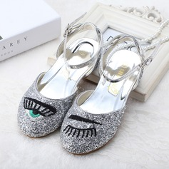 Girl's Closed Toe Sparkling Glitter Low Heel Flats Flower Girl Shoes