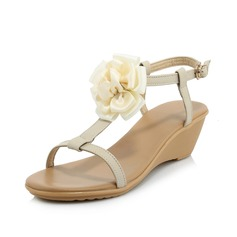 Women's Real Leather Wedge Heel Sandals Slingbacks With Flower shoes
