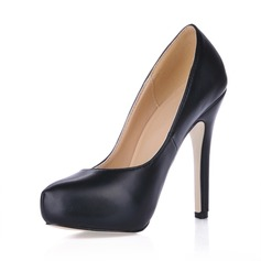 Leatherette Stiletto Heel Pumps Platform Closed Toe shoes (085020592)