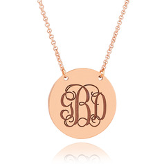 Custom 18k Rose Gold Plated Silver Monogram Necklace Engraved Necklace Circle Necklace - Birthday Gifts Mother's Day Gifts