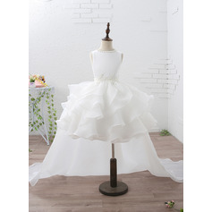 Empire Knee-length/Court Train/Detachable Flower Girl Dress - Organza/Satin Sleeveless Jewel With Ruffles/Beading/Appliques