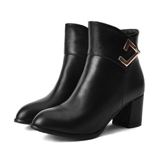 Women's Leatherette Chunky Heel Boots With Rhinestone Zipper Others shoes